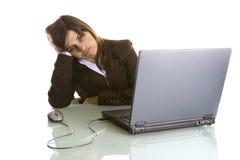 Donna di affari con il computer portatile fotografie stock libere da diritti