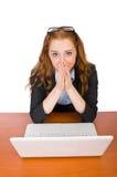 Donna di affari con il computer portatile isolato Fotografie Stock