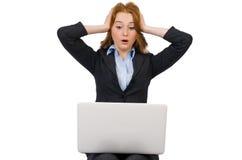 Donna di affari con il computer portatile isolato Immagini Stock