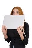 Donna di affari con il computer portatile isolato Fotografie Stock Libere da Diritti