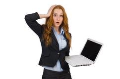Donna di affari con il computer portatile isolato Immagini Stock Libere da Diritti