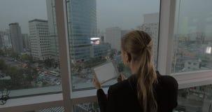 Donna di affari con il cuscinetto che esamina panorama di Seoul, Corea del Sud video d archivio