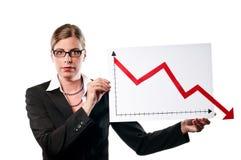 Donna di affari con il diagramma Fotografie Stock Libere da Diritti