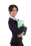 Donna di affari con il dispositivo di piegatura Fotografia Stock Libera da Diritti