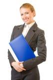Donna di affari con il dispositivo di piegatura Immagini Stock