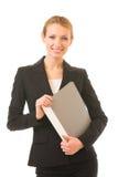 Donna di affari con il dispositivo di piegatura Immagine Stock Libera da Diritti