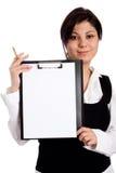 Donna di affari con il dispositivo di piegatura fotografie stock
