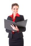 Donna di affari con il dispositivo di piegatura aperto del nero, isolato Immagini Stock