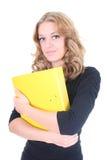 Donna di affari con il dispositivo di piegatura giallo Immagini Stock