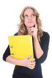 Donna di affari con il dispositivo di piegatura giallo Immagini Stock Libere da Diritti