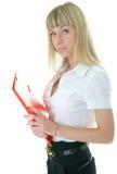 Donna di affari con il dispositivo di piegatura per il documento Fotografia Stock Libera da Diritti
