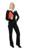 Donna di affari con il dispositivo di piegatura rosso Immagine Stock Libera da Diritti