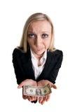 Donna di affari con il dollaro Fotografie Stock