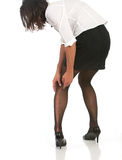 Donna di affari con il funzionamento in calza Fotografie Stock Libere da Diritti