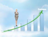 Donna di affari con il grande grafico 3d Fotografie Stock Libere da Diritti