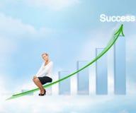 Donna di affari con il grande grafico 3d Immagini Stock