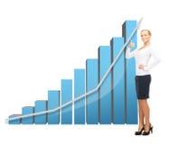 Donna di affari con il grande grafico 3d Fotografie Stock