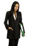 Donna di affari con il grande raccoglitore Fotografie Stock