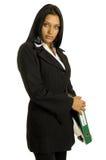 Donna di affari con il grande raccoglitore Immagini Stock