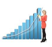 Donna di affari con il grandi grafico 3d e cartelle Immagine Stock Libera da Diritti