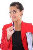 Donna di affari con il libro Immagini Stock Libere da Diritti