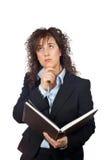 Donna di affari con il libro Immagine Stock