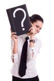 Donna di affari con il libro di domanda immagini stock libere da diritti