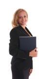 Donna di affari con il libro macchina quotidiano Fotografia Stock Libera da Diritti