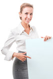 Donna di affari con il manifesto vuoto fotografia stock libera da diritti