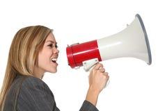 Donna di affari con il megafono Immagine Stock