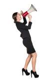 Donna di affari con il megafono fotografia stock