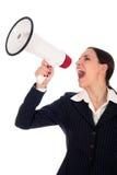 Donna di affari con il megafono Fotografie Stock Libere da Diritti