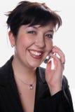 Donna di affari con il mobile immagine stock libera da diritti