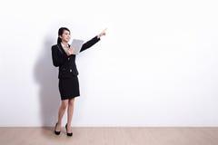 Donna di affari con il pc del ridurre in pani Immagini Stock