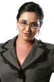 Donna di affari con il primo piano di vetro fotografia stock