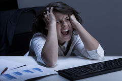 Donna di affari con il problema terribile Fotografie Stock Libere da Diritti