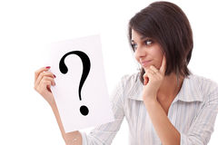 Donna di affari con il punto interrogativo Immagini Stock Libere da Diritti