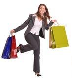 Donna di affari con il sacchetto del regalo. Fotografia Stock