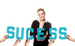 Donna di affari con il successo di parola Fotografia Stock