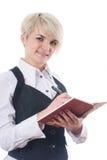 Donna di affari con il taccuino Fotografie Stock Libere da Diritti