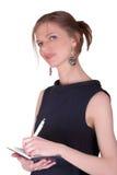 Donna di affari con il taccuino Immagini Stock