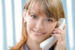 Donna di affari con il telefono Fotografia Stock