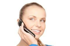 Donna di affari con il telefono delle cellule Fotografia Stock