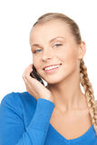 Donna di affari con il telefono delle cellule Fotografia Stock Libera da Diritti