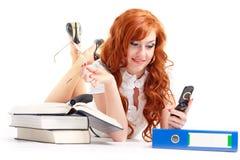 Donna di affari con il telefono mobile Fotografia Stock