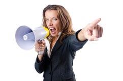 Donna di affari con l'altoparlante Immagini Stock Libere da Diritti