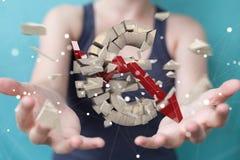 Donna di affari con l'esplosione della rappresentazione euro di valuta 3D Fotografia Stock