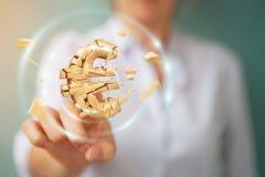 Donna di affari con l'esplosione della rappresentazione euro di valuta 3D Fotografia Stock Libera da Diritti