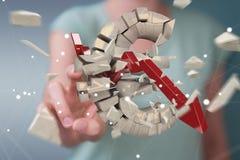 Donna di affari con l'esplosione della rappresentazione euro di valuta 3D Fotografie Stock