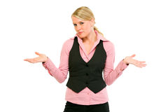 Donna di affari con l'espressione confusa sul fronte Fotografie Stock Libere da Diritti